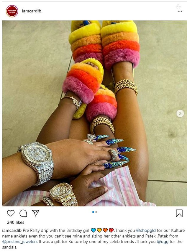 Cardi B Wears Matching Bling And Slippers With Daughter Kulture As