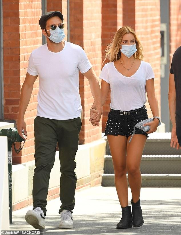 Sebastian Stan twins in white with girlfriend Alejandra
