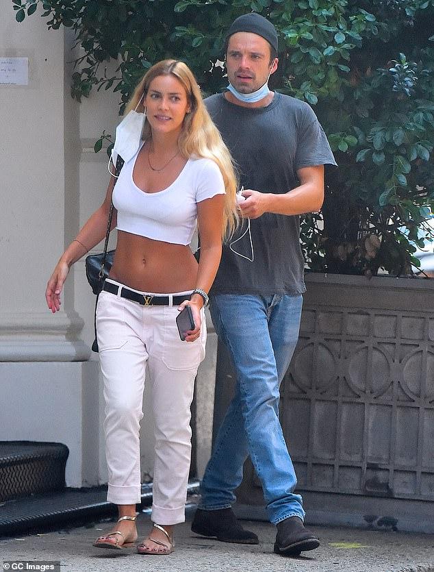 Sebastian Stan stays casual while girlfriend Alejandra